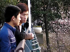 two chinese boys having good time