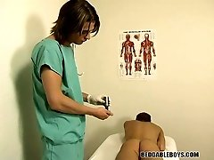 Young medical intern check the twink prostate