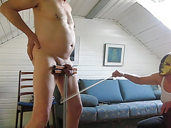 Cane on cock and balls in humbler