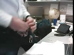 dad strokes cock at the office 2