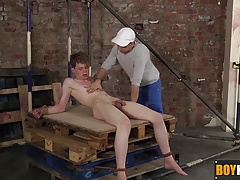 Leo Ocean is tied hard to the pallet for Deacon to play with