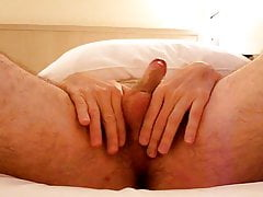 masturbation - stroking my 6 inch uncut cock and ball massag