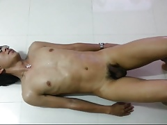 asian slut excercising naked