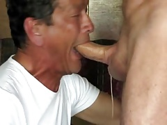 Daddy deepthroath with messy cum