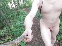 Naked forest walk and walked beside the road(caught by cars)